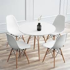 wyctin essgruppe runde esstisch weiß mit 4 stühlen weiß 70x72cm mdf