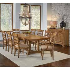 A America Bennett 10 Piece Trestle Dining Room Set W Upholstered Chairs In Smoky