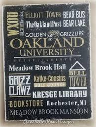 Oakland Universiry Rochester Michigan Graduation Golden Grizzlies Rustic Distressed Vintage Look Subway Sign Word Wall Art