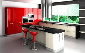 Kitchen Red And Black Modern Iron Seat White Framed Bar Stool Built In Microwave Ceramic Tile Backsplash Minimalist Stained Glass Island Lighting