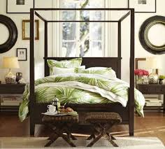 Bedroom With Canopy Bed And Palm Tree Bedding Tropical Palm Tree