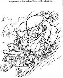 Coloring Page Of Grinch In Sleigh After Saving Christmas Day