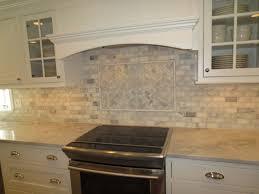 Kitchen Subway Tiles Splashback L Shape Dark Brown Wood Cabinet Floating Glass Door Textured