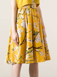 dolce u0026 gabbana pleated floral skirt in yellow lyst