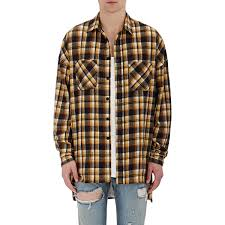 fear of god plaid flannel shirt in yellow for men lyst