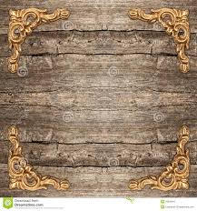 Rustic Wooden Background With Golden Corner Stock Photo Wood Clipart Panel
