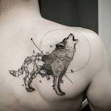 Abstract Geometric Wolf Tattoo On Right BAck Shoulder