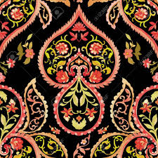 Watercolor Paisley Seamless Pattern Warm Colors Indian Persian Or Turkish Art Vector