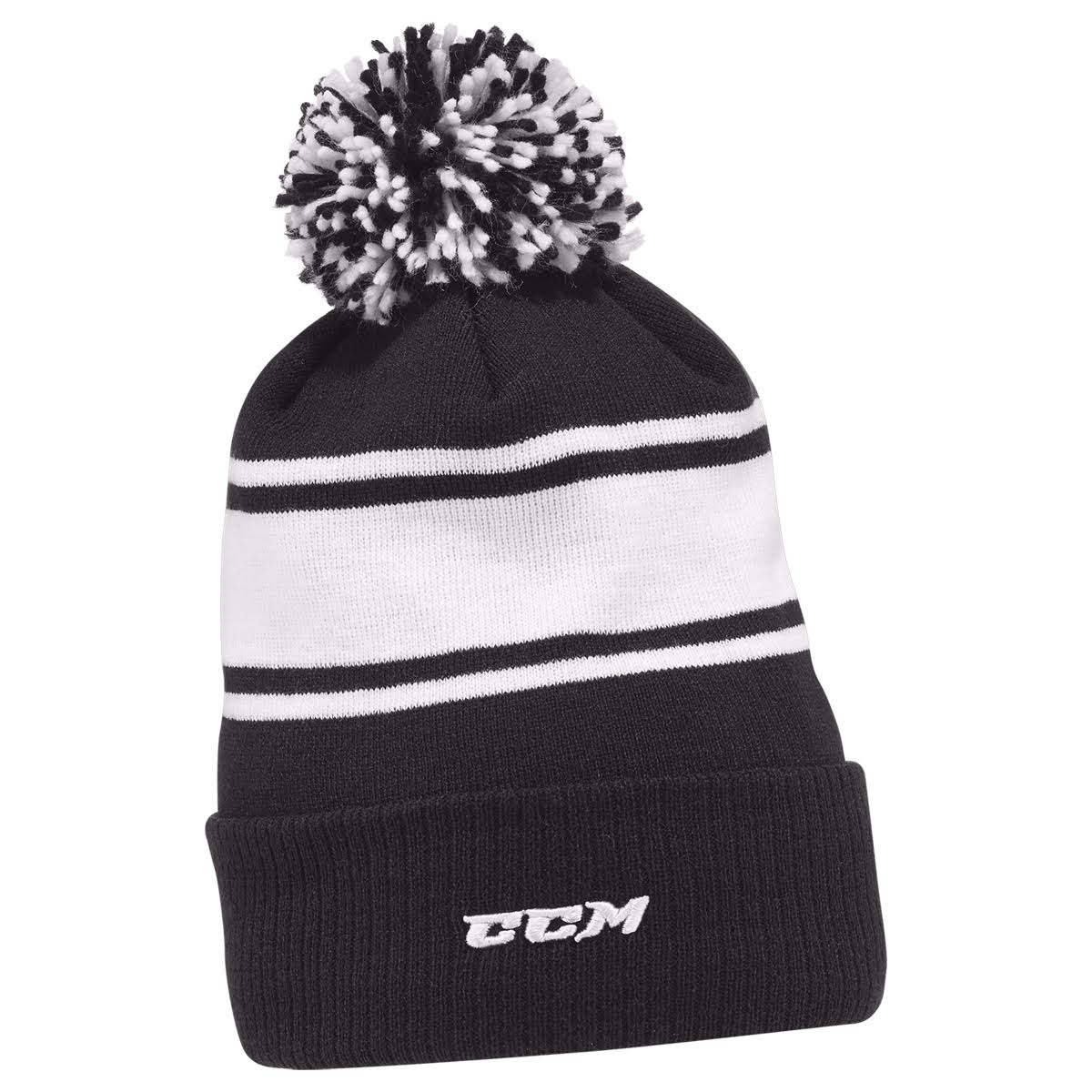 CCM Team Fleece Pom Knit Beanie - Adult - Black