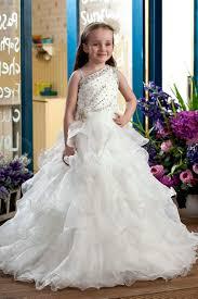 white ball gown flower girl dresses overlay wedding dresses