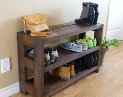 Entryway 3 Levels Rustic Shoe Rack Storage Organizer Cabinet
