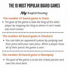 The 10 Most Popular Board Games Chess Checkers Monopoly Scrabble Backgammon
