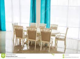 Dining Room With Wooden Table And Chairs. Bright Interior ... Wander Ding Chair Blue Gray Set Of 2 In Ny Chairs Kai Kristiansen Z In Aqua Leather Marlon Solid Wood Architonic Windsor Threshold Modern Image Photo Free Trial Bigstock Details About Madison Kathy Ireland Ingenue Room Cover Fniture Protection Mecerock Velvet Stretch Covers Soft Removable Slipcovers 4 White Fabric S Shabby Chic Caribe Ding Chair Uemintblack Midcentury Style Accent With Legs And Upholstery Etta Chair Teal Blue Fabric Upholstered Wooden Legs