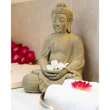 buddha figur 42x30x28 grau