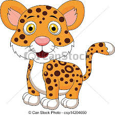 Vector illustration of cute baby leopard cartoon clipart vector