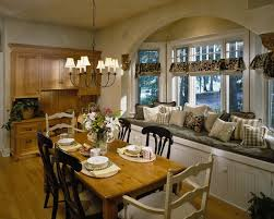 Country Style Dining Room Light Fixtures For Traditional Decor With Wood Chairs And Window Arch