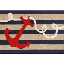 Navy Stripe Anchor Indoor Outdoor Rug