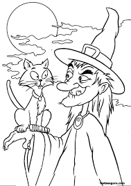 Halloween Coloring Pages Printables Book Printouts Witches Cat Scary Pictures Printable Large Size