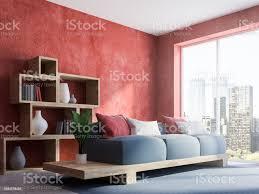 rote wand wohnzimmer graues ecksofa stockfoto und mehr bilder architektur