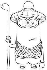 Minions Coloring Pages Kevin Golf