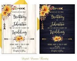 Rustic Wedding Invitation Printable Set Sunflowers Boho Country Floral With Navy