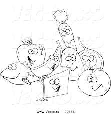 Vector Of A Cartoon Group Foods