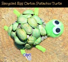 Make A Turtle Using An Egg Carton And Pistachio Nut Shells