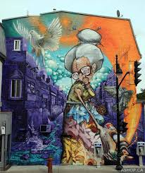 Street Painting By AShop One For The Mural Festival In Montreal Canada We Wanted To Have An Old Lady Represent School Graffers That