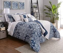 Project Runway Elena Navy & Gray forter & Quilt 10 Piece Sets at