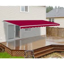 Motorized Retractable Patio Awning - 16x10 Feet - Burgundy - ALEKO Retractable Patio Awning 12x10 Feet Blue Aleko Green And White Striped Superior Quality Rv Awnings Guarranteed Lowest Price Vacationr Room 16 17 Cafree Of Colorado 291600 Choosing A Covering All The Options Vintage Trailer From Oldtrailercom Diy Sun Shade Sail Youtube Retctablelateral Arm Replacing The Awning Fabric On An Ae Model 8500 Part Amazoncom