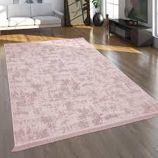 teppich wohnzimmer kurzflor modernes orientalisches muster waschbar rosa