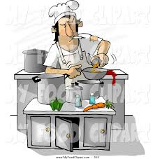 Food Clip Art Of A Filthy Chef Smoking While Cooking In Kitchen