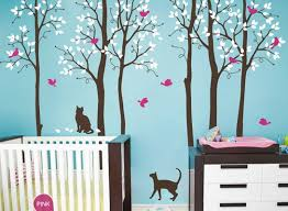Wall Mural Decals Nursery by Cat Birds Tree Wall Decals Nursery Kids Baby Boys Girls Wall Art