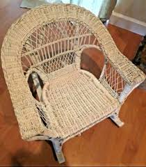 Vintage Wicker Child Rocking Chair Intricate Detail White Rocker ...