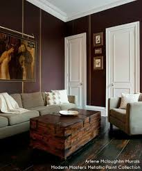 Modern Masters Plum Metallic Paint On Walls With Olympic Gold Stripes
