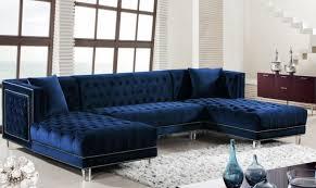 Ebay Chaise by Meridian Furniture Moda Modern Navy Blue Velvet Double Chaise