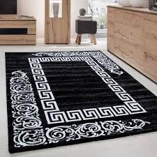 moderner designer elegance wohnzimmer teppich miami 6620 schwarz weiss größe 80x150 cm