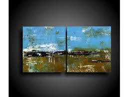 The Raw Canvas Abstract Painting Modern Wall Art Original Contemporary 24 X 48 Blue Mustard Olive Black White
