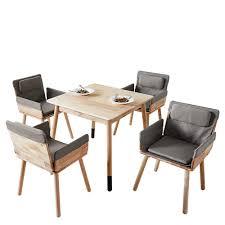 esszimmergarnitur aus massivholz armlehnenstühlen in grau webstoff 5 teilig