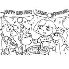 Dora Celebrates Birthday Coloring Pages