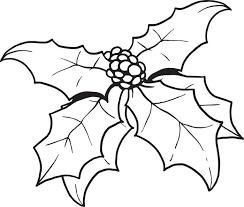Printable Christmas Holly Coloring Page