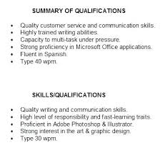 Resume Qualifications And Skills Examples Summary Of Resumes In Sample Job