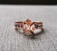 Rustic Mens Wedding Band Ring Nordic Runes Till Death Do We Part Old World Norse Mythology Viking 14K Rose Gold Hammered The Odin