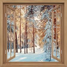 fototapete fenster offen braun kiefer mit schnee bedeckt