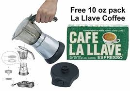 Electric Cuban Style 3 TO 6 Cups Coffee Maker With One Cafe La LLave 10 Oz