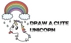 How To Draw A Cute Kawaii Unicorn With Tongue Out Under Rainbow Easy Step By Drawing Tutorial For Kids