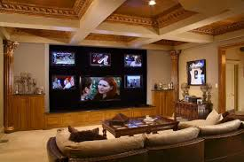 Living Room Theatre Boca by Amazing Wooden Home Theatre With Cozy Seating And Pillows At