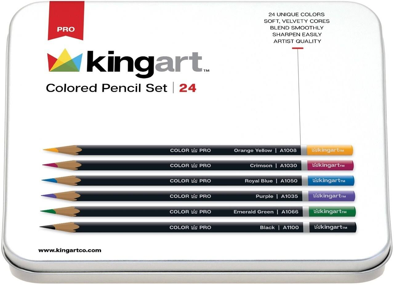 Kingart Assorted Colors - Pencil Set in Tin Case 24/Pkg