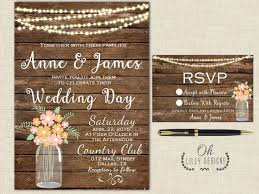 Rustic Wedding Invitation Printable Fall Country Mason Jar Autumn