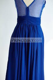v neck royal blue lace chiffon long bridesmaid dress